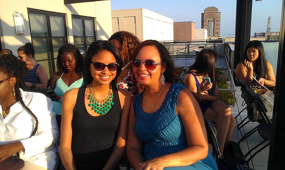 The green necklace seen here is a stella & dot piece. Love the sunglasses on both ladies.
