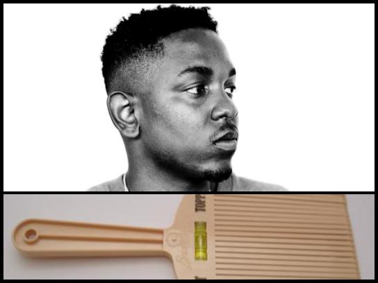 "Kendrick Lamar's cool hair cut and at the bottom, a ""flattopper."""