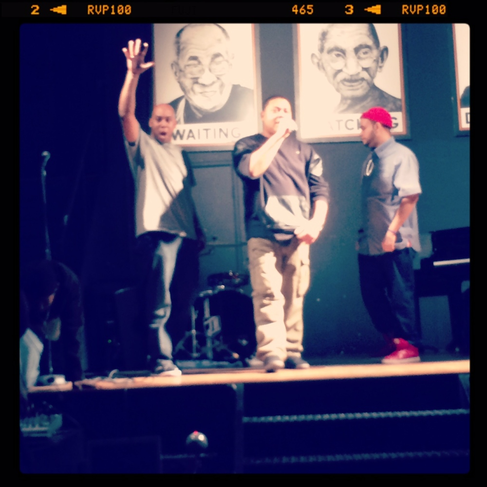 Left to right: MC Logic, Matta Fact and Xander J on stage. Photo credit: Michelle Strother