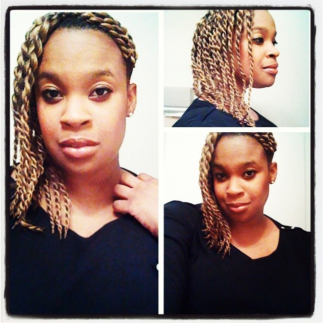 These twists were done using synthetic hair (sorry, I don't remember the color). For me they are just the right mix of sexy and casual, but are definitely still work appropriate.