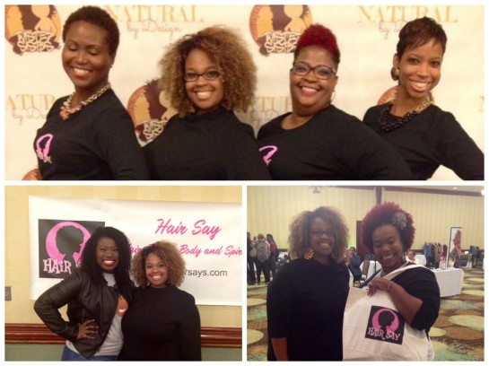 Top: The Hair Say team and I. Left: Naptural Nicole and I. Right: One of the lovely ladies that wone a giveaway from Hair Say.