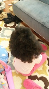 My model's hair after washing and using the Shea Moisture Kids line and blowing out.